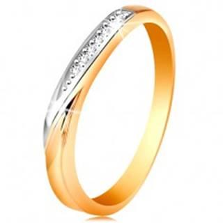 Dvojfarebný zlatý prsteň 585 - vlnka z bieleho zlata a drobných čírych zirkónov - Veľkosť: 48 mm