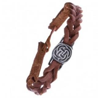Kožený karamelovo hnedý náramok - pletenec, keltský uzol v kruhu