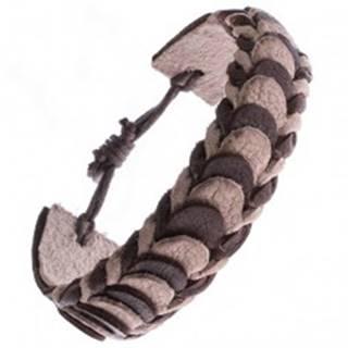 Kožený náramok – hnedé a béžové prekladané pásy