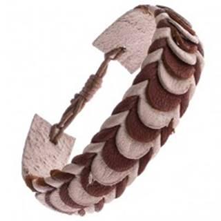 Kožený náramok – karamelové a béžové prekladané pásy