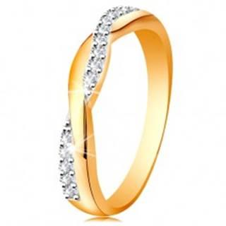 Lesklý prsteň zo 14K zlata - dve prepletené vlnky - hladká a zirkónová - Veľkosť: 49 mm