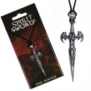 Náhrdelník na šnúrke, prívesok, meč zdobený ornamentmi