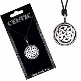 Náhrdelník s príveskom, čierny, keltské uzly
