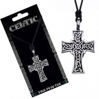 Náhrdelník so šnúrkou – čierny, keltský kríž