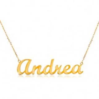 Náhrdelník v žltom 14K zlate - tenká ligotavá retiazka, lesklý nápis Andrea