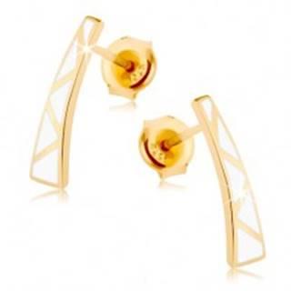 Náušnice v žltom 9K zlate - rozšírený pásik, biele trojuholníčky