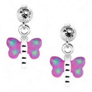 Náušnice zo striebra 925, motýľ s fialovo-modrými krídlami a bielym telom