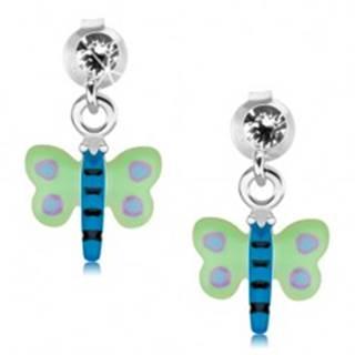Náušnice zo striebra 925, zeleno-modrý motýľ s fialovými bodkami, krištáľ