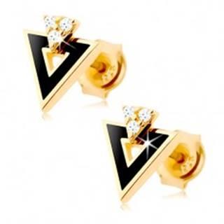 Náušnice zo žltého 9K zlata - čierny trojuholník s výrezom, číre zirkóniky