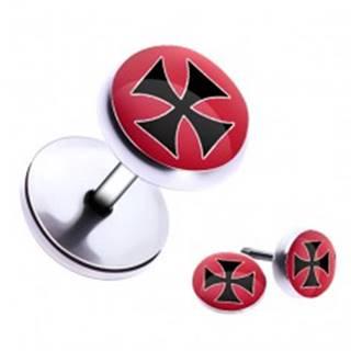 Oceľový fake piercing do ucha - maltézsky kríž