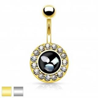 Oceľový piercing do brucha, čierny kruh s kúskami perlete, zirkónový lem - Farba piercing: Strieborná