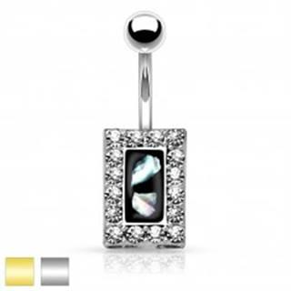 Oceľový piercing do brucha, čierny obdĺžnik s kúskami perlete, zirkónový lem - Farba piercing: Strieborná