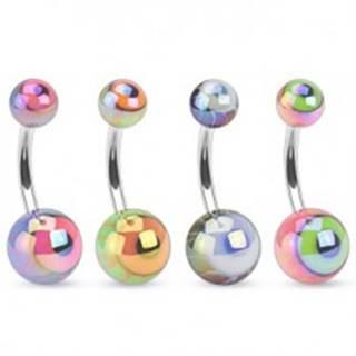 Piercing do bruška z ocele, farebné guličky s metalickým odleskom, oko - Farba piercing: Čierna