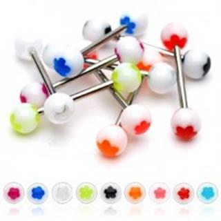 Piercing do jazyka biela gulička - farebný kvietok - Farba piercing: Červená