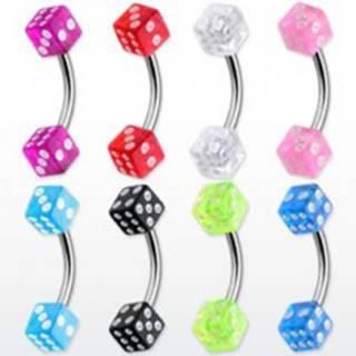 Piercing do obočia - farebné hracie kocky - Rozmer: 1,2 mm x 10 mm x 3 mm, Farba piercing: Modrá