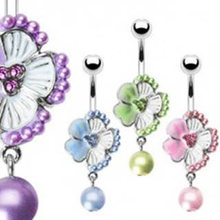 Piercing do pupku kvietok so zirkónmi a korálik - Farba piercing: Fialová