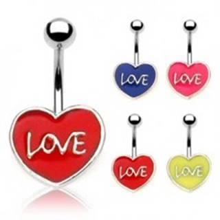 Piercing do pupku LOVE - Farba piercing: Červená