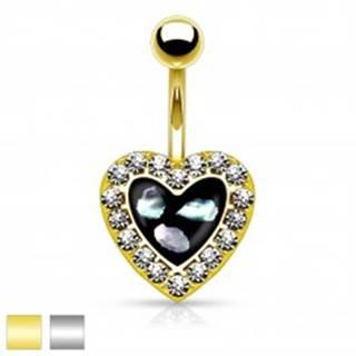 Piercing do pupku z ocele 316L, čierne srdiečko s kúskami perlete a čírymi zirkónikmi - Farba piercing: Strieborná