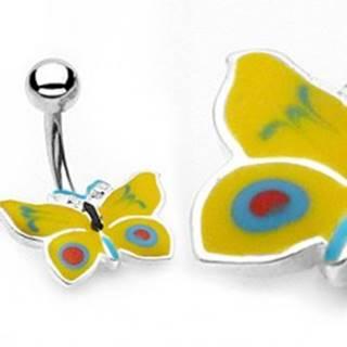 Piercing do pupku žlto-modrý motýlik
