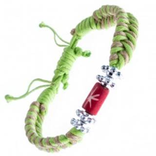 Pletený náramok - béžovo-zelený, kvietky a korálka s hviezdou