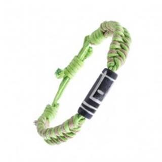 Pletený náramok zo šnúrok - béžovo-zelený, vyrezávaný valček
