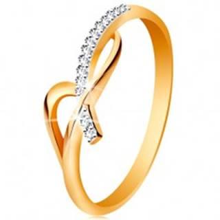 Prsteň v 14K zlate - asymetricky prepletené ramená, okrúhle číre zirkóny - Veľkosť: 49 mm