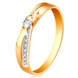Prsteň v 14K zlate - rozdvojené prekrížené línie ramien, okrúhle číre zirkóny - Veľkosť: 48 mm