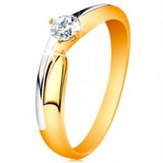 Prsteň zo 14K zlata - dvojfarebné ramená, ligotavý zirkón čírej farby - Veľkosť: 49 mm