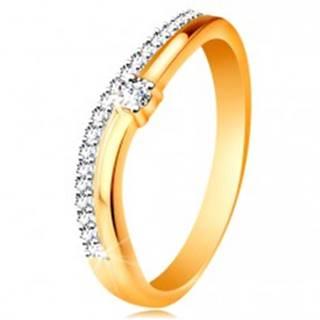 Prsteň zo 14K zlata, zvlnené ramená s výrezom v strede a číre zirkóny - Veľkosť: 49 mm