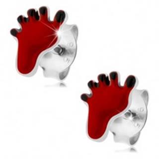 Puzetové náušnice, striebro 925, červený odtlačok chodidla, čierne prsty