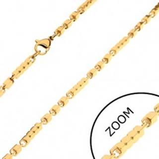 Retiazka z chirurgickej ocele zlatej farby, dlhšie a kratšie hranaté články, 3 mm