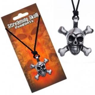 Šnúrkový náhrdelník s príveskom lebky so skríženými kosťami