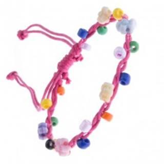 Šnúrkový náramok - ružový s farebnými korálikmi a kvietkami