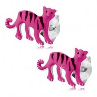 Strieborné 925 náušnice, ružový tiger s čiernymi prúžkami, puzetky