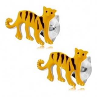 Strieborné 925 náušnice, žltý tiger s čiernymi prúžkami, puzetky