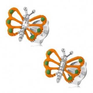 Strieborné náušnice 925, oranžový motýlik s vyrezávanými krídlami
