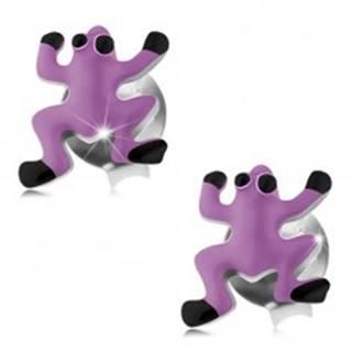 Strieborné náušnice 925, žabka zdobená fialovou a čiernou glazúrou