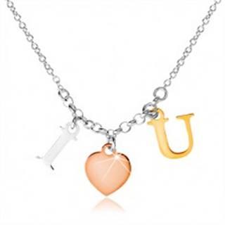 """Strieborný náhrdelník 925, nápis """"I LOVE U"""" v troch farebných odtieňoch"""
