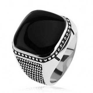 Strieborný prsteň 925, malé kosoštvorce, guličky, čierny vypuklý štvorec - Veľkosť: 54 mm