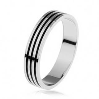 Strieborný prsteň 925, tri tenké čierne pásiky po obvode - Veľkosť: 54 mm