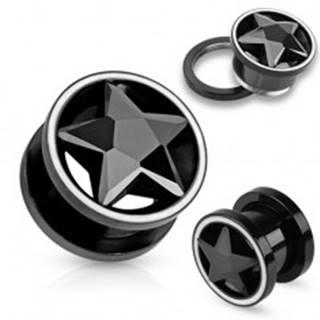 Tunel plug z ocele čiernej farby, zirkónová brúsená hviezda, biely lem - Hrúbka: 10 mm