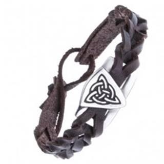 Úzky náramok z kože - pletený, tmavohnedý, keltský uzol
