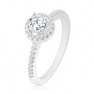 Zásnubný prsteň, striebro 925, okrúhly číry zirkón s ligotavou kontúrou - Veľkosť: 48 mm