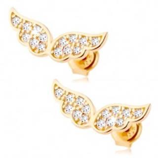 Zlaté náušnice 375 - trblietavé anjelské krídla vykladané čírymi zirkónikmi