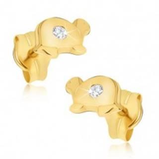 Zlaté náušnice 585 - malé lesklé korytnačky s čírym briliantom na pancieri