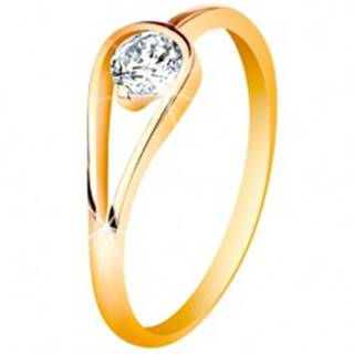 Zlatý 14K prsteň s úzkymi lesklými ramenami, číry zirkón v slučke - Veľkosť: 49 mm