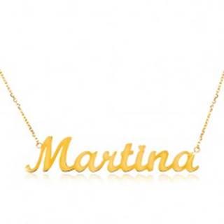 Zlatý náhrdelník 585 - tenká retiazka z oválnych očiek, lesklý prívesok Martina