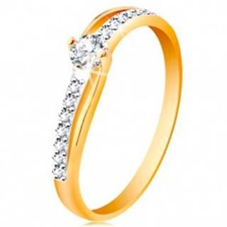 Zlatý prsteň 585 s rozdelenými dvojfarebnými ramenami, číre zirkóny - Veľkosť: 49 mm