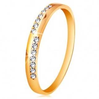 Zlatý prsteň 585 - úzke línie z čírych ligotavých zirkónikov, vysoký lesk - Veľkosť: 50 mm