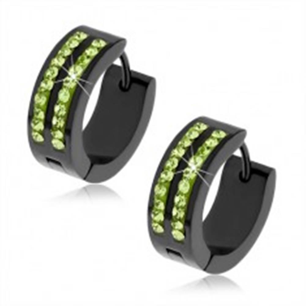 Šperky eshop Čierne okrúhle náušnice z ocele, dve línie svetlozelených kamienkov